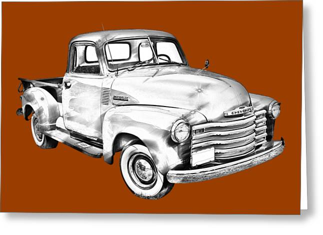 Chevrolet Pickup Truck Digital Greeting Cards - 1947 Chevrolet Thriftmaster Pickup Illustration Greeting Card by Keith Webber Jr