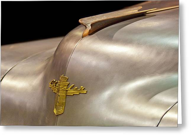 1947 Chrysler Hood Ornament Greeting Card by Jill Reger