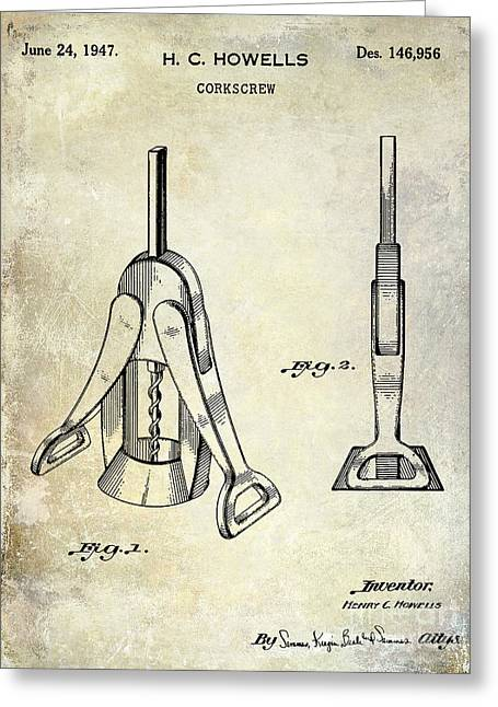Merlot Greeting Cards - 1947 Corkscrew Patent  Greeting Card by Jon Neidert