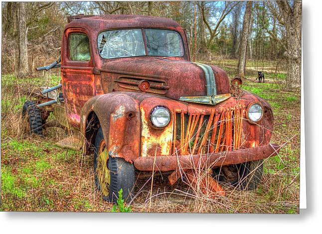 1947 Ford Truck And Friend Greeting Card by Reid Callaway
