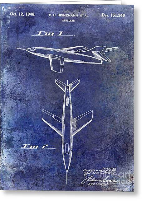 Vintage Airplane Greeting Cards - 1947 Jet Airplane Patent Blue Greeting Card by Jon Neidert