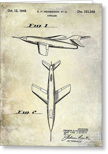 Antique Airplane Greeting Cards - 1947 Jet Airplane Patent Greeting Card by Jon Neidert