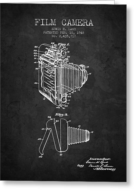 Camera Greeting Cards - 1948 Film Camera patent - Charcoal - NB Greeting Card by Aged Pixel
