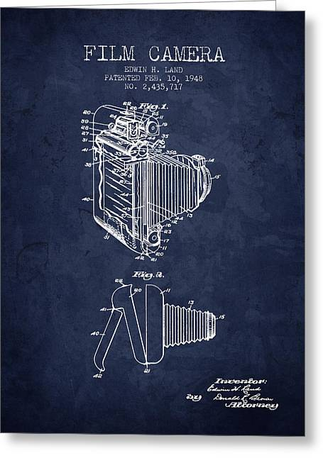 Camera Greeting Cards - 1948 Film Camera patent - Navy Blue - NB Greeting Card by Aged Pixel