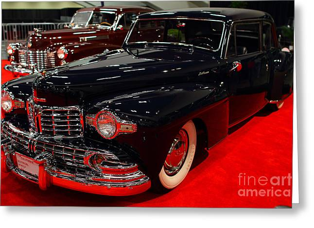 Domestic Cars Greeting Cards - 1948 Lincoln Continental Coupe . Deep Blue . 7D9256 Greeting Card by Wingsdomain Art and Photography