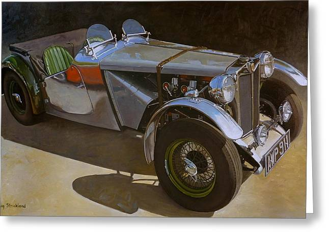 English Car Greeting Cards - 1948 M G  Racer Greeting Card by Doug Strickland