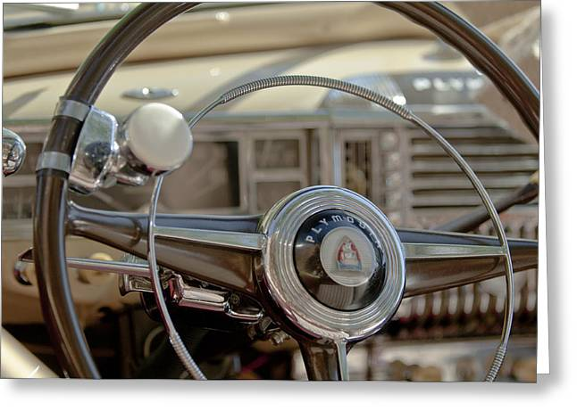 1940Õs Greeting Cards - 1948 Plymouth Deluxe Steering Wheel Greeting Card by Jill Reger