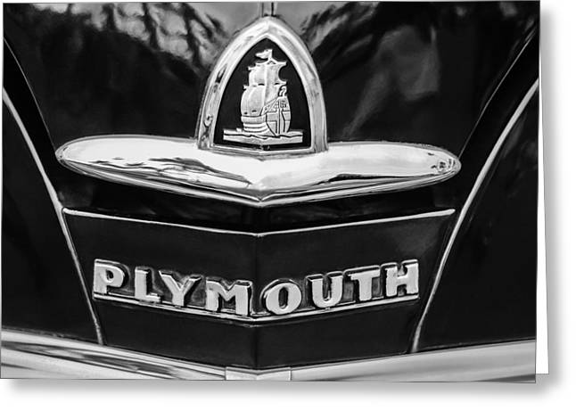 1948 Greeting Cards - 1948 Plymouth Emblem -0388bw Greeting Card by Jill Reger