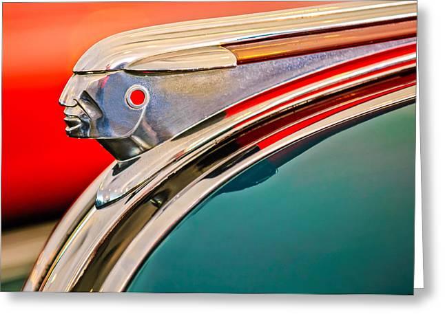 Car Mascot Greeting Cards - 1948 Pontiac Chief Hood Ornament Greeting Card by Jill Reger