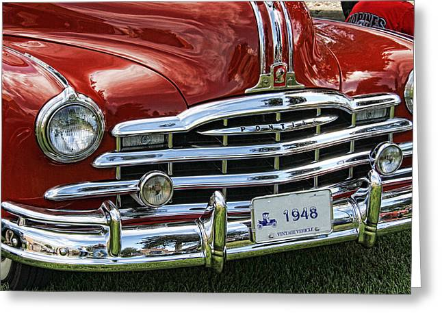 Collector Hood Ornament Greeting Cards - 1948 Pontiac Convertible Grill Greeting Card by Nick Gray
