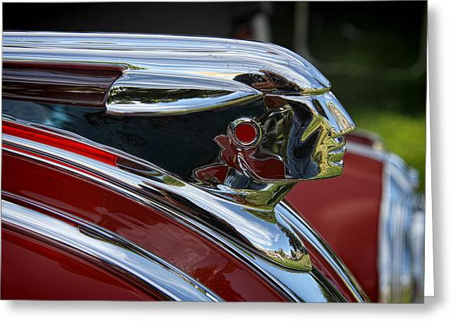 Collector Hood Ornament Greeting Cards - 1948 Pontiac Convertible Hood Ornament Greeting Card by Nick Gray