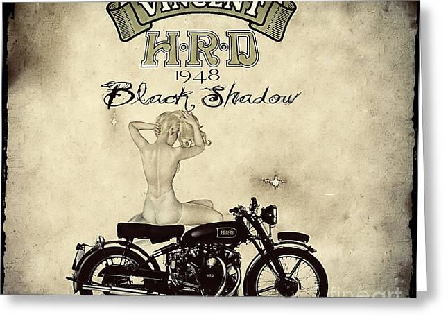 Motorcycles Greeting Cards - 1948 Vincent Black Shadow Greeting Card by Cinema Photography