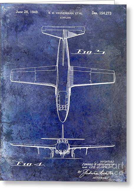 Antique Airplane Greeting Cards - 1949 Airplane Patent Drawing Blue Greeting Card by Jon Neidert