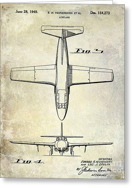 1949 Airplane Patent Drawing Greeting Card by Jon Neidert