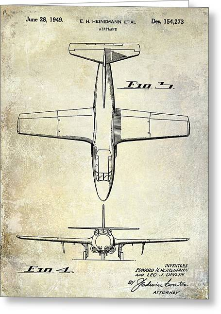 Antique Airplane Greeting Cards - 1949 Airplane Patent Drawing Greeting Card by Jon Neidert