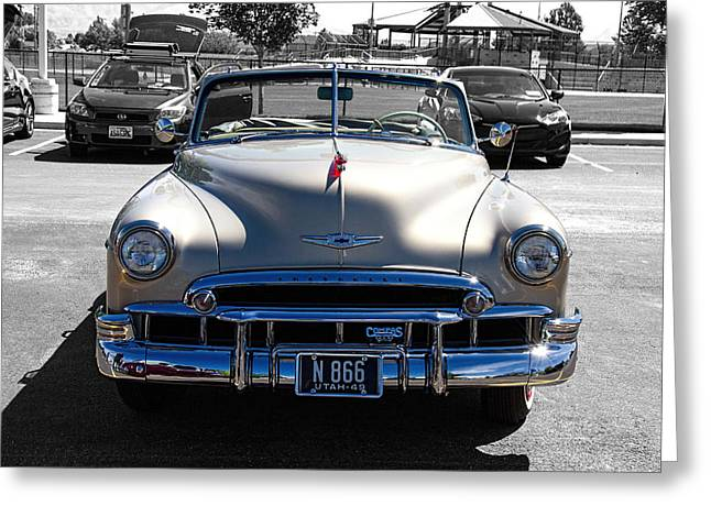 Chev Deluxe Greeting Cards - Compas Car Club Greeting Card by Nick Gray
