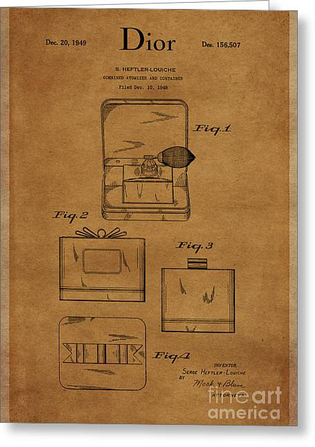 1949 Dior Atomizer And Container Design 1 Greeting Card by Nishanth Gopinathan