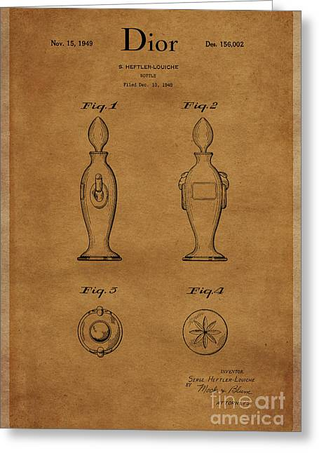 1949 Dior Perfume Bottle Design 1 Greeting Card by Nishanth Gopinathan