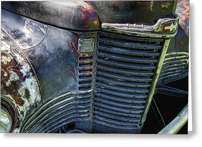 Collector Hood Ornament Greeting Cards - 1949 International Truck Grill Greeting Card by Nick Gray