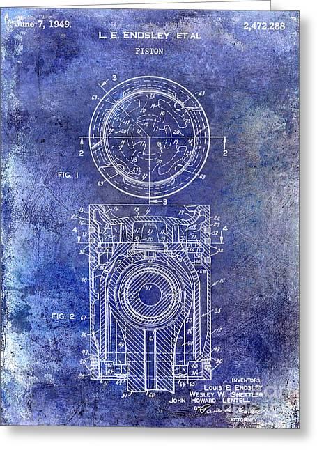 Pistons Greeting Cards - 1949 Piston Patent Blue Greeting Card by Jon Neidert