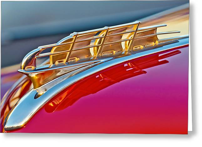 1949 Plymouth Hood Ornament Greeting Card by Jill Reger