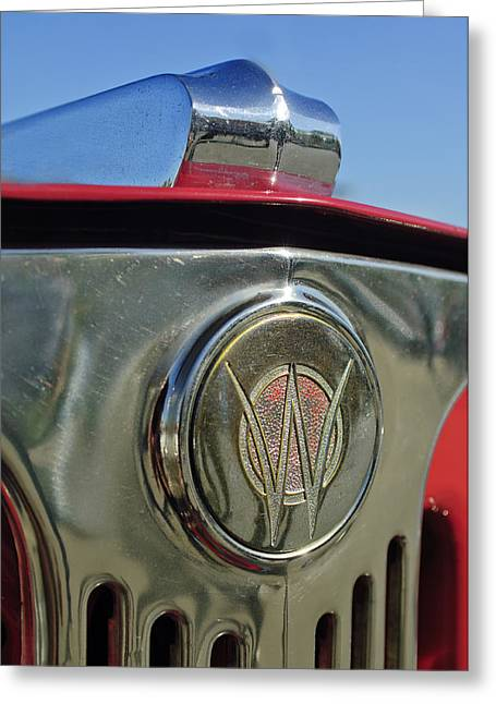 Car Mascot Greeting Cards - 1949 Willys Jeepster Hood Ornament Greeting Card by Jill Reger