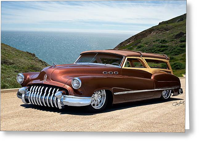 Slam Greeting Cards - 1950 Buick Woody Custom Wagon Greeting Card by Dave Koontz