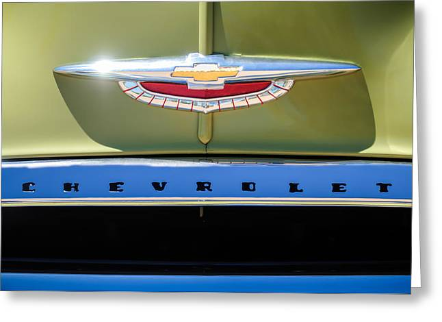 Fleetline Emblem Greeting Cards - 1950 Chevrolet Fleetline Grille Emblem -1431c Greeting Card by Jill Reger