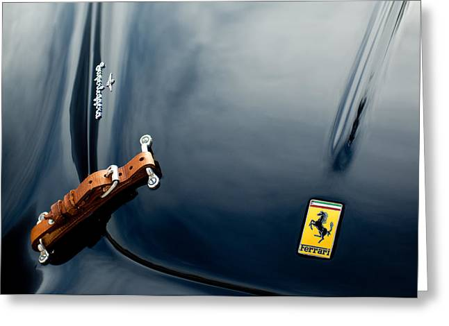 Pictures Photographs Greeting Cards - 1950 Ferrari Hood Emblem Greeting Card by Jill Reger