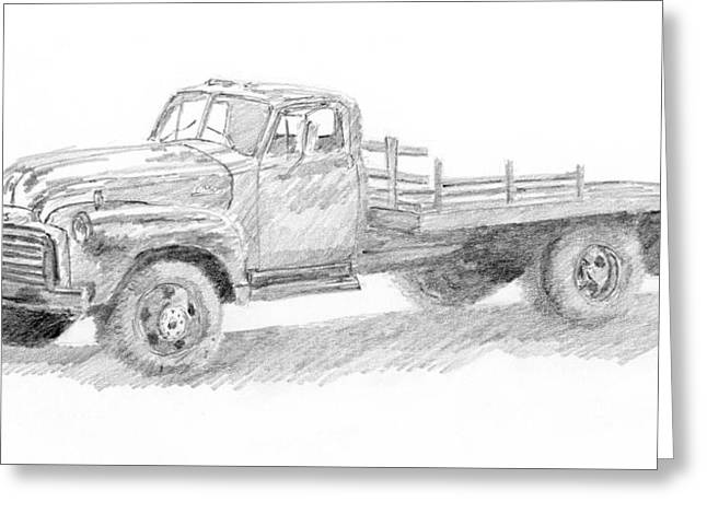 Old Trucks Drawings Greeting Cards - 1950 GMC Truck Sketch Greeting Card by David King