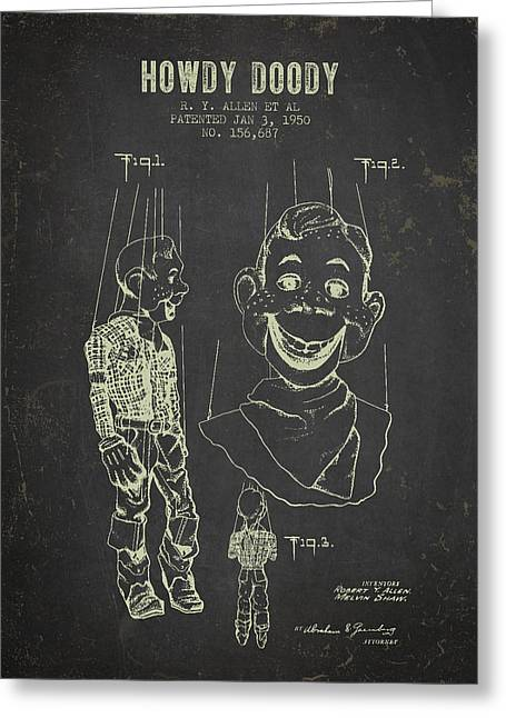 Vintage Dolls Greeting Cards - 1950 Howdy Doody - Dark Grunge Greeting Card by Aged Pixel