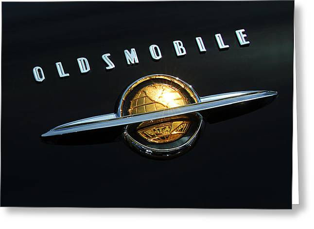 Car Hood Ornament Photographs Greeting Cards - 1950 Oldsmobile Rocket 88 Convertible Emblem Greeting Card by Jill Reger