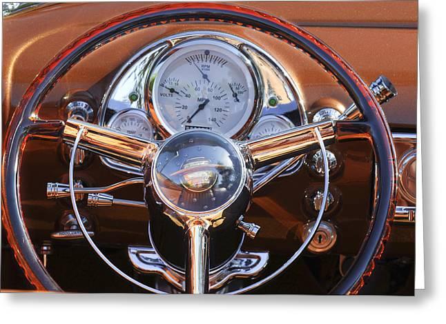 1950 Oldsmobile Rocket 88 Steering Wheel 2 Greeting Card by Jill Reger
