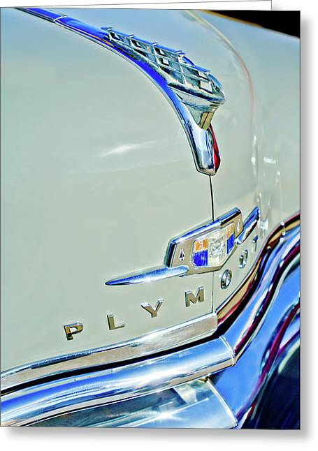 1950 Plymouth Coupe Hood Ornament Greeting Card by Jill Reger