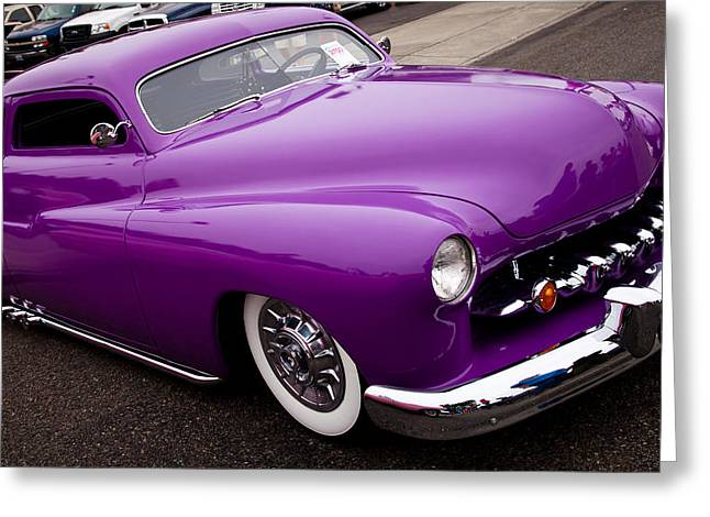 Radiator Badge Greeting Cards - 1950 Purple Mercury Greeting Card by David Patterson