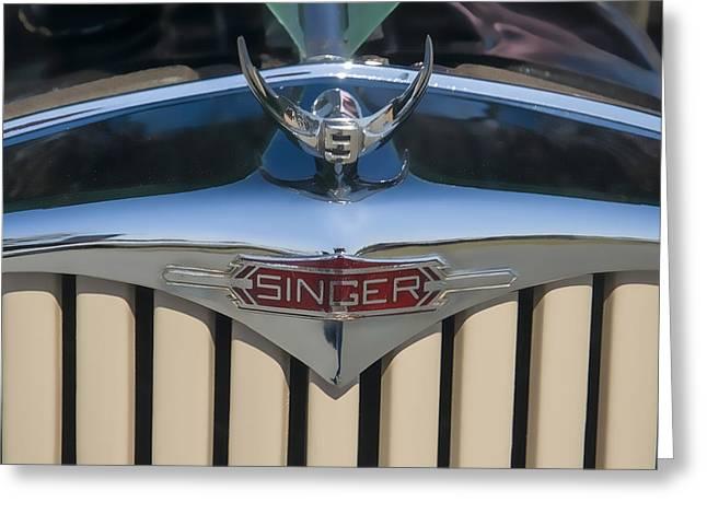 Car Mascots Digital Art Greeting Cards - 1950 Singer 9 Roadster Hood ornament Greeting Card by Chris Flees