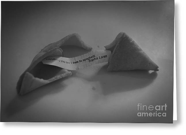Labelled Greeting Cards - 1950s Fortune Cookie Greeting Card by Janice Rae Pariza