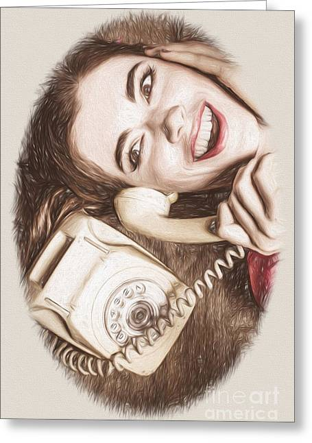 1950s Portraits Photographs Greeting Cards - 1950s Pinup Girl Talking On Retro Phone Greeting Card by Ryan Jorgensen