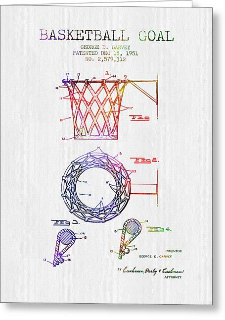 Basketball Drawings Greeting Cards - 1951 Basketball Goal Patent - Color Greeting Card by Aged Pixel