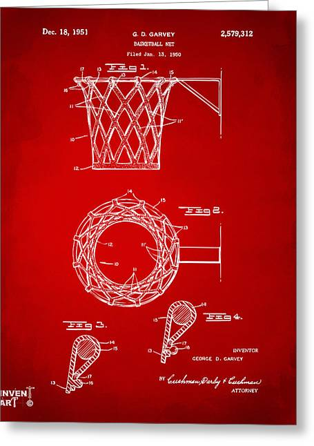Basket Ball Game Greeting Cards - 1951 Basketball Net Patent Artwork - Red Greeting Card by Nikki Marie Smith