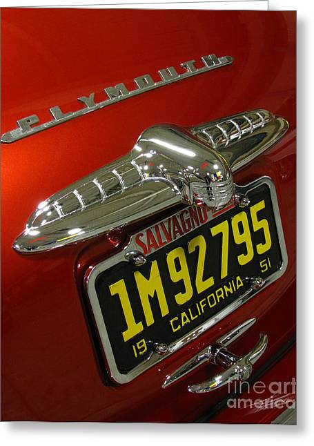 Car Show Greeting Cards - 1951 Business Coupe Tail Greeting Card by Peter Piatt