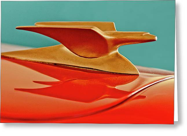 1951 Greeting Cards - 1951 Crosley Hot Shot Hood Ornament 2 Greeting Card by Jill Reger