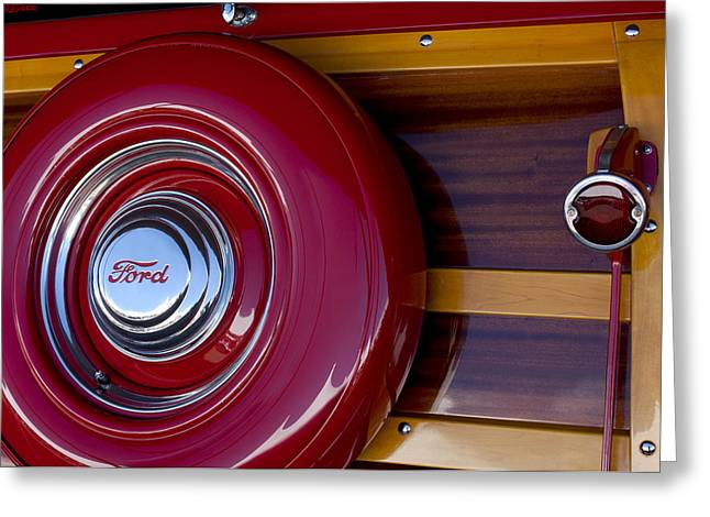 Ford Custom Greeting Cards - 1951 Ford Custom Deluxe Woody Taillight Greeting Card by Jill Reger