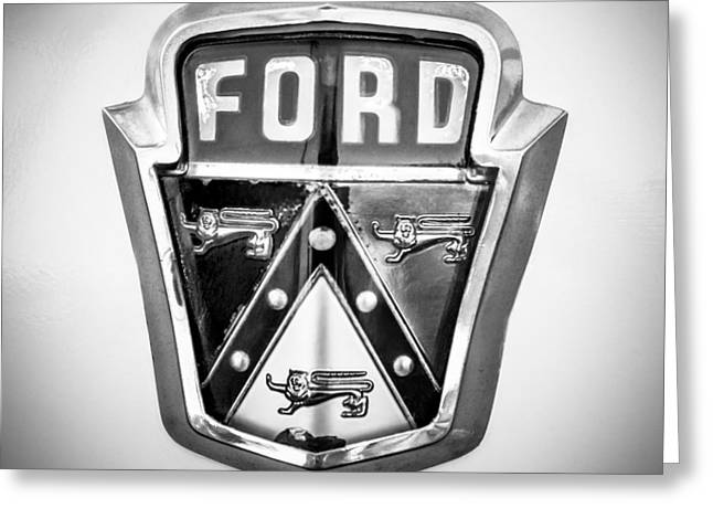 Famous Photographers Greeting Cards - 1951 Ford Emblem -0195bw Greeting Card by Jill Reger