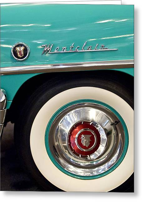 1951 Greeting Cards - 1951 Mercury Montclair Convertible Wheel Emblem Greeting Card by Jill Reger
