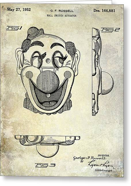 Clown Greeting Cards - 1952 Clown Light Switch Patent  Greeting Card by Jon Neidert