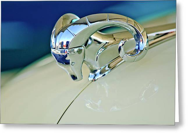 Car Mascots Greeting Cards - 1952 Dodge Coronet  Diplomat Club Coupe Hood Ornament Greeting Card by Jill Reger