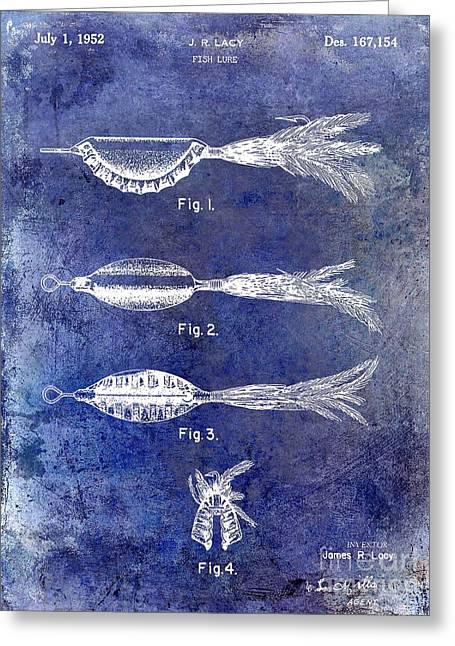 Naples Greeting Cards - 1952 Fishing Lure Patent Blue Greeting Card by Jon Neidert