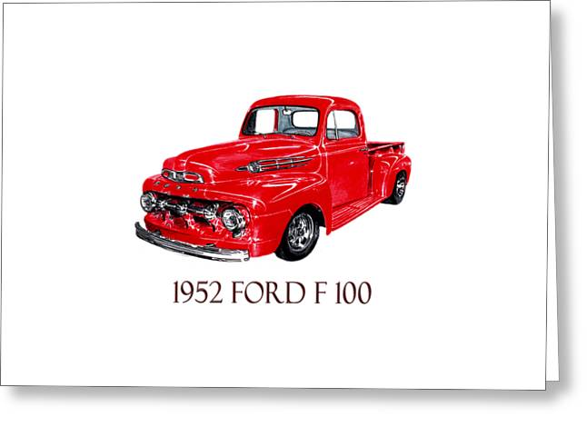 Print On Acrylic Drawings Greeting Cards - 1952 Ford F-100 Pick Up Greeting Card by Jack Pumphrey