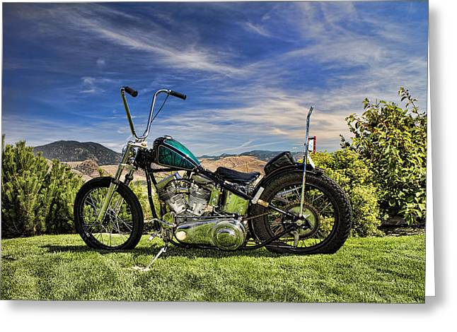Editorial Greeting Cards - 1951 Harley Davidson Motorcycle Chopper Greeting Card by David Smith